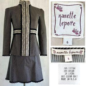 NANETTE LEPORE Pinstripe Cotton Short Skirt Suit